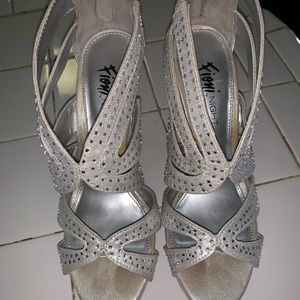 Shoes - Silver sequined heels